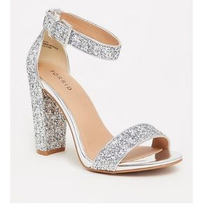 Silver glitter strapped heels torrid